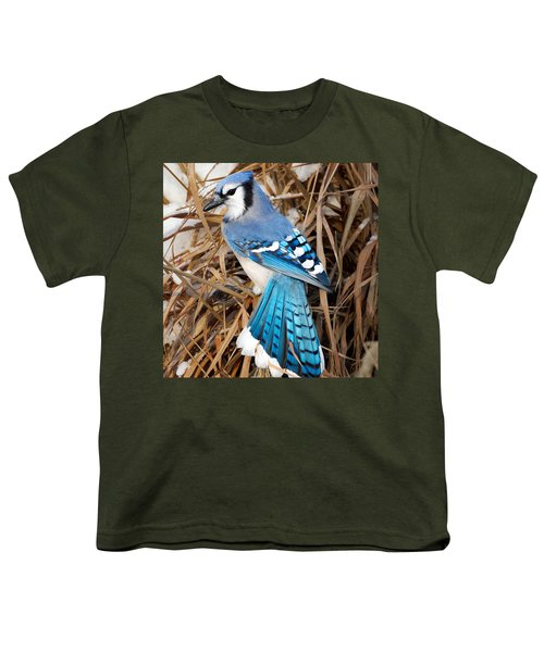 Portrait Of A Blue Jay Square Youth T-Shirt by Bill Wakeley