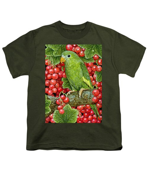 Redcurrant Parakeet Youth T-Shirt by Ditz