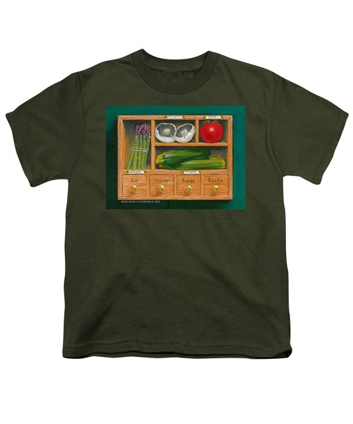 Vegetable Shelf Youth T-Shirt by Brian James