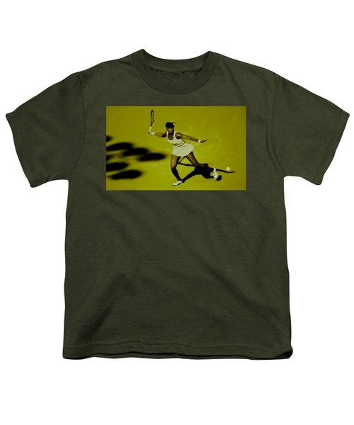 Venus Williams In Action Youth T-Shirt by Brian Reaves