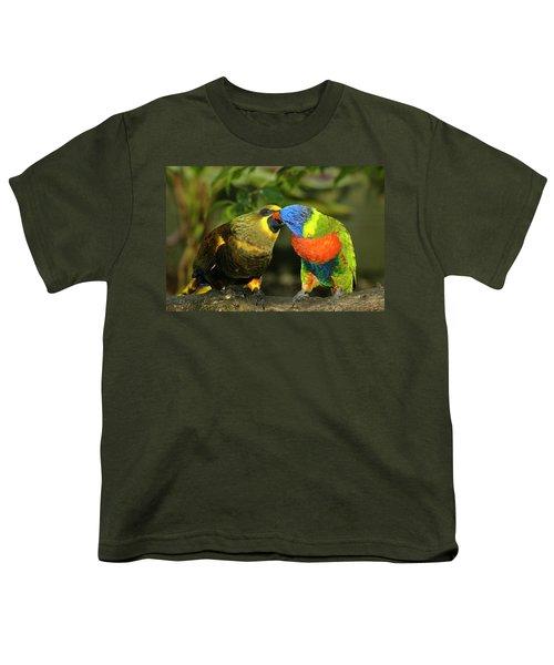 Kissing Birds Youth T-Shirt by Carolyn Marshall