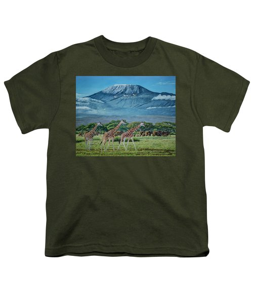 African Giants At Mount Kilimanjaro, Original Oil Painting 48x60 In On Gallery Canvas Youth T-Shirt by Manuel Lopez