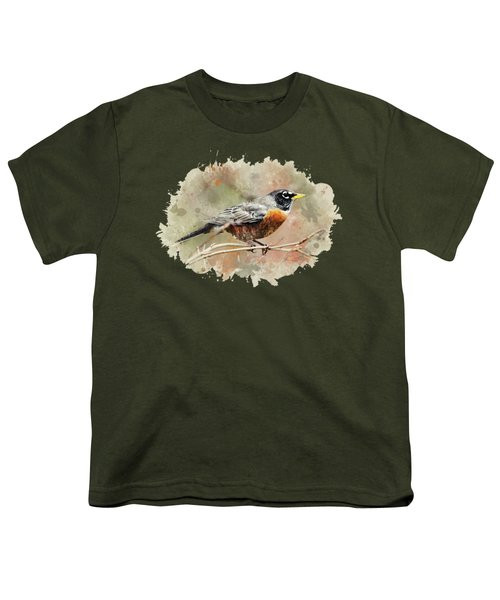 American Robin - Watercolor Art Youth T-Shirt by Christina Rollo