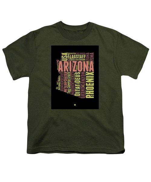 Arizona Word Cloud Map 1 Youth T-Shirt by Naxart Studio