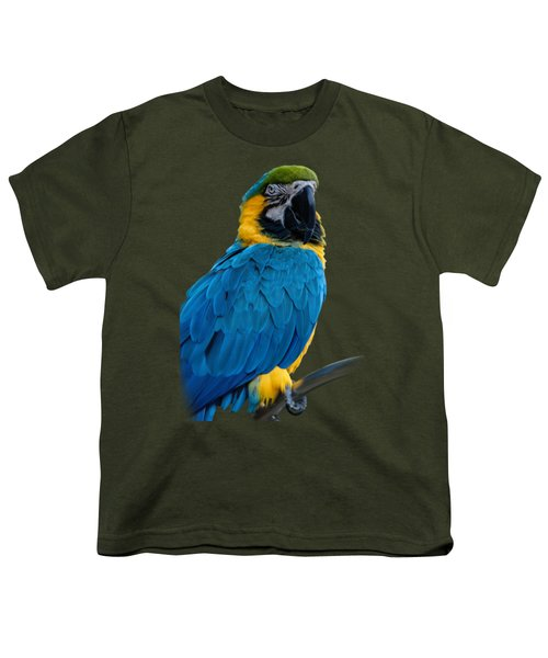 Blue Yellow Macaw No.2 Youth T-Shirt by Mark Myhaver