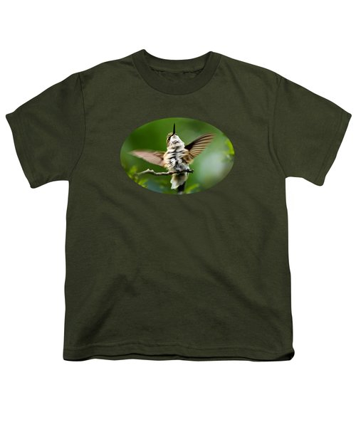 Hummingbird Happy Dance Youth T-Shirt by Christina Rollo