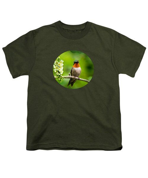 Male Ruby-throated Hummingbird With Showy Gorget Youth T-Shirt by Christina Rollo