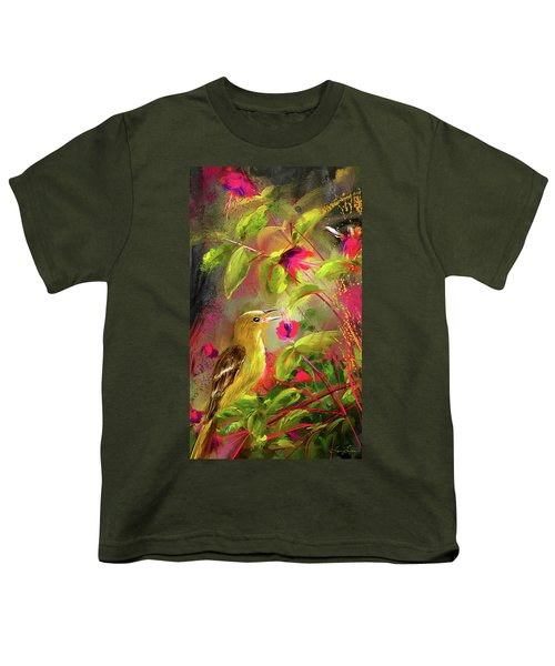 Baltimore Oriole Art- Baltimore Female Oriole Art Youth T-Shirt by Lourry Legarde
