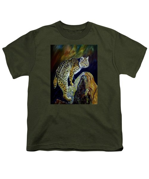 Bobcat At Sunset Original Oil Painting 16x20x1 Inch On Gallery Canvas Youth T-Shirt by Manuel Lopez