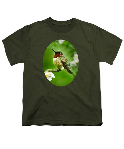 Fauna And Flora - Hummingbird With Flowers Youth T-Shirt by Christina Rollo
