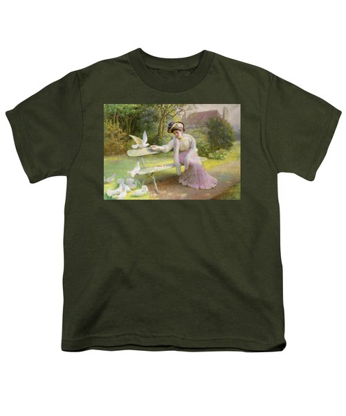 Feeding The Doves  Youth T-Shirt by Edmond Alphonse Defonte