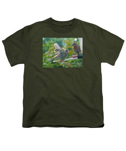 Female And Male Crossbills    August  Indiana Youth T-Shirt by Rory Cubel