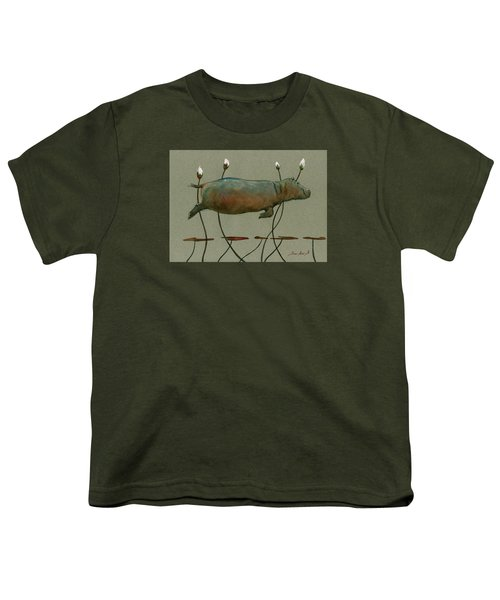 Happy Hippo Swimming Youth T-Shirt by Juan  Bosco