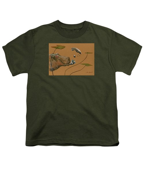 Hippo Bubbles Youth T-Shirt by Juan  Bosco
