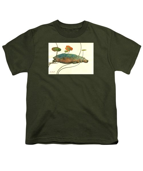 Hippo Swimming With Water Lilies Youth T-Shirt by Juan  Bosco