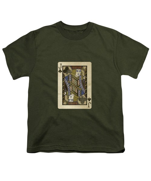 Jack Of Clubs In Wood Youth T-Shirt by YoPedro