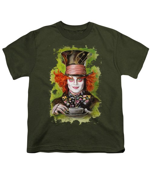 Johnny Depp As Mad Hatter Youth T-Shirt by Melanie D
