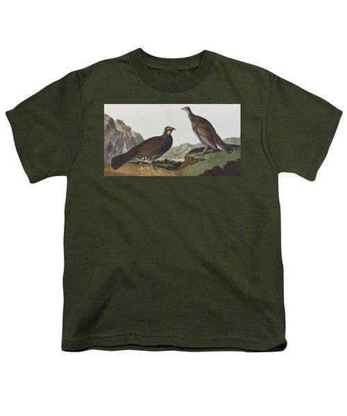 Long-tailed Or Dusky Grous Youth T-Shirt by John James Audubon