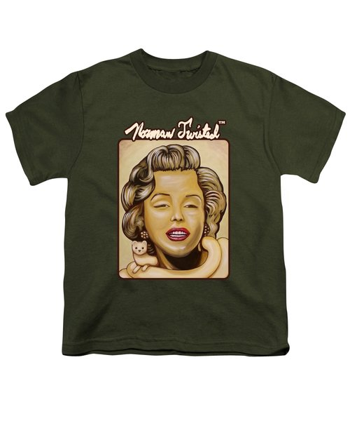 Marilyn In Gold Nt Youth T-Shirt by Norman Twisted