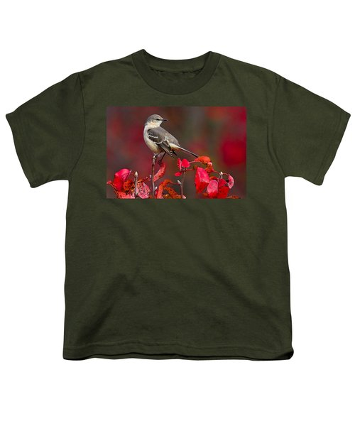Mockingbird On Red Youth T-Shirt by William Jobes