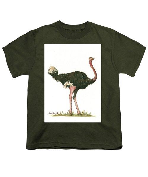 Ostrich Bird Youth T-Shirt by Juan Bosco
