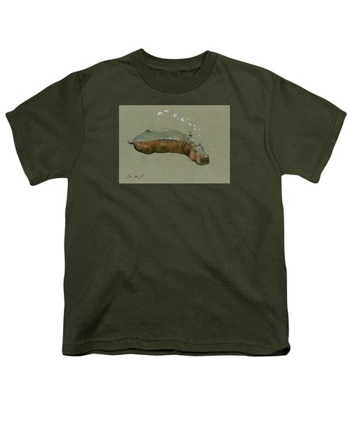 Playing Hippo Youth T-Shirt by Juan  Bosco
