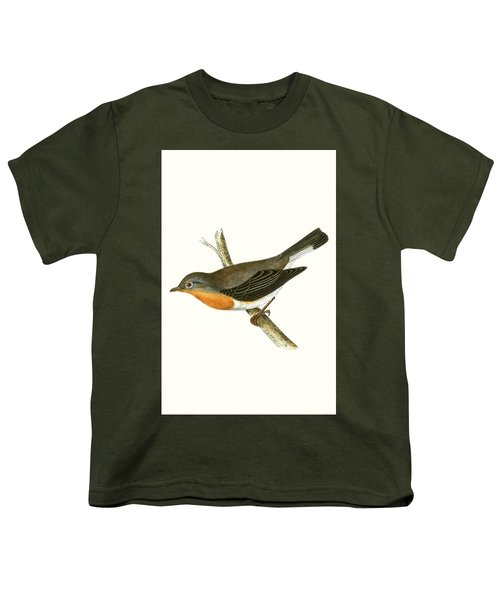Red Breasted Flycatcher Youth T-Shirt by English School
