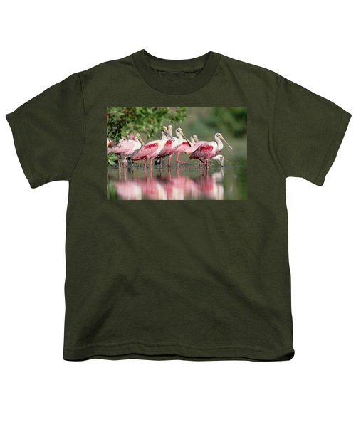 Roseate Spoonbill Flock Wading In Pond Youth T-Shirt by Tim Fitzharris