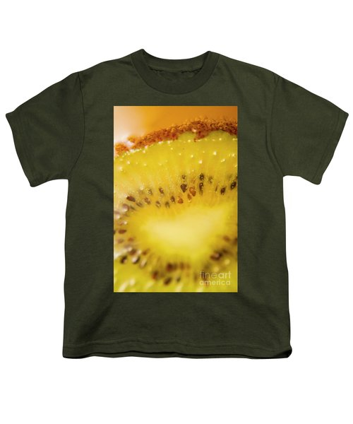 Sliced Kiwi Fruit Floating In Carbonated Beverage Youth T-Shirt by Jorgo Photography - Wall Art Gallery