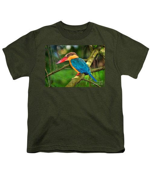 Stork-billed Kingfisher Youth T-Shirt by Louise Heusinkveld