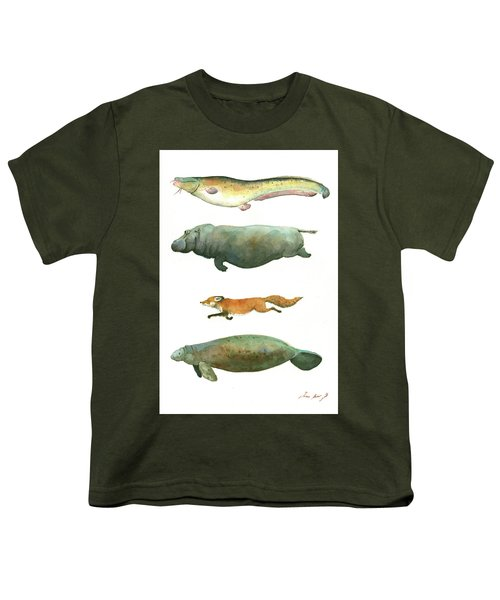 Swimming Animals Youth T-Shirt by Juan Bosco