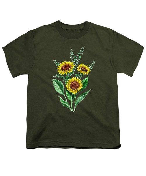 Three Playful Sunflowers Youth T-Shirt by Irina Sztukowski