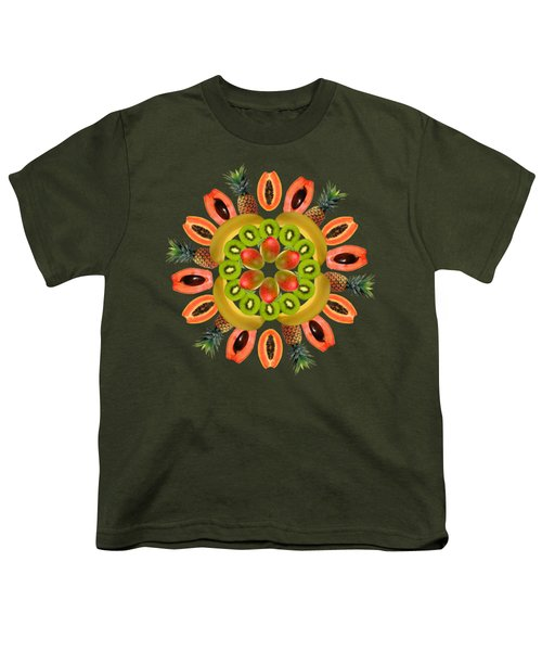 Tropical Fruits Youth T-Shirt by Edelberto Cabrera