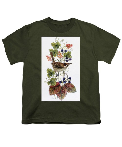 Wren On A Spray Of Berries Youth T-Shirt by Nell Hill