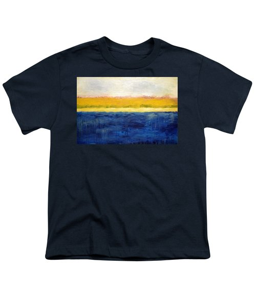 Abstract Dunes With Blue And Gold Youth T-Shirt by Michelle Calkins