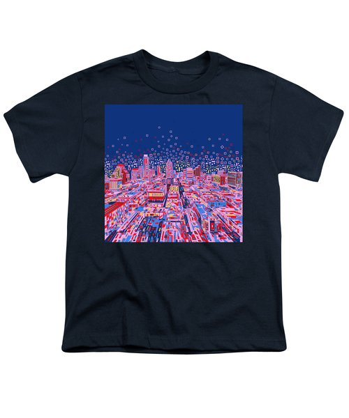 Austin Texas Abstract Panorama Youth T-Shirt by Bekim Art