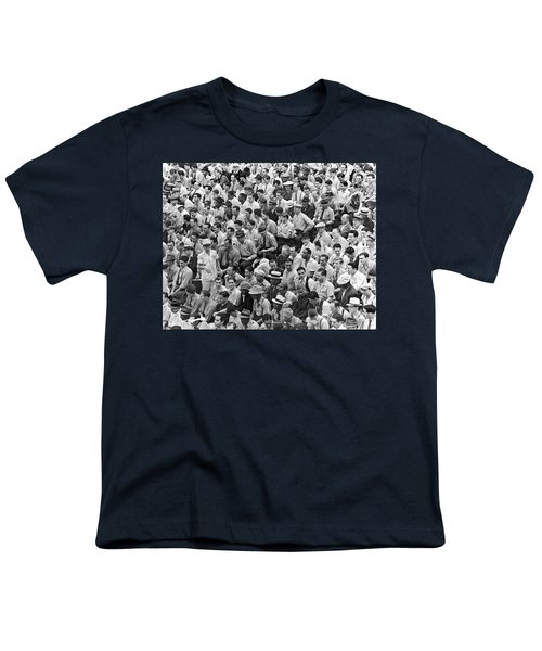 Baseball Fans In The Bleachers At Yankee Stadium. Youth T-Shirt by Underwood Archives