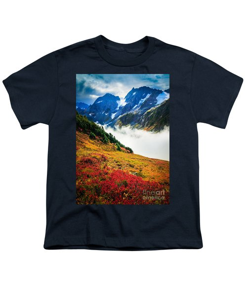 Cascade Pass Peaks Youth T-Shirt by Inge Johnsson