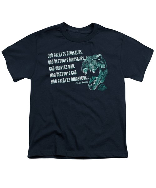 Jurassic Park - God Creates Dinosaurs Youth T-Shirt by Brand A