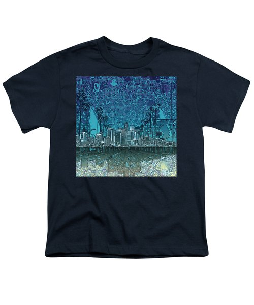 Los Angeles Skyline Abstract 5 Youth T-Shirt by Bekim Art