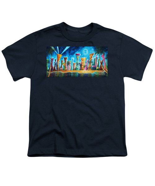 Miami City South Beach Original Painting Tropical Cityscape Art Miami Night Life By Madart Absolut X Youth T-Shirt by Megan Duncanson