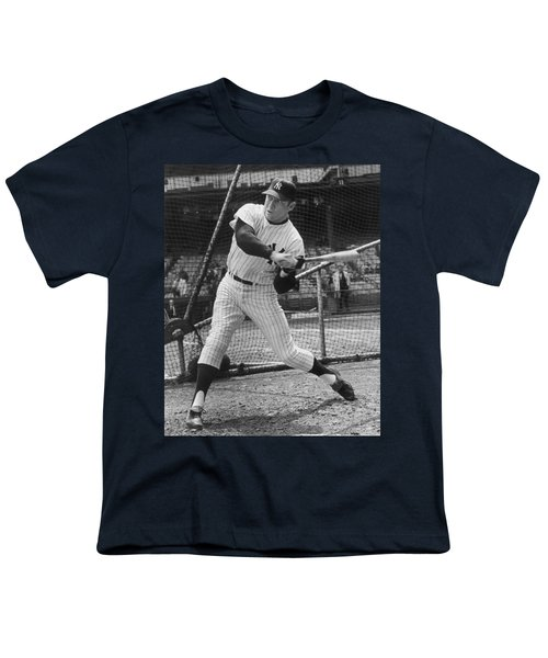 Mickey Mantle Poster Youth T-Shirt by Gianfranco Weiss