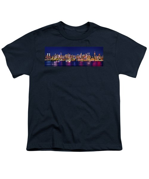 New York City Nyc Midtown Manhattan At Night Youth T-Shirt by Jon Holiday