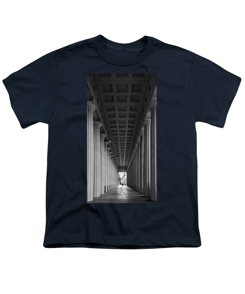 Soldier Field Colonnade Chicago B W B W Youth T-Shirt by Steve Gadomski
