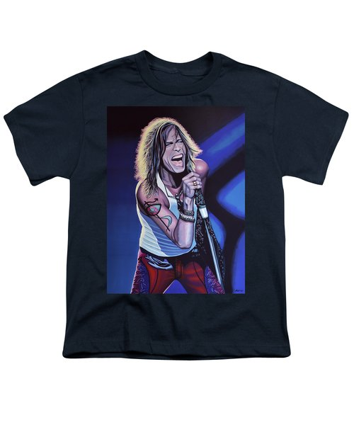 Steven Tyler Of Aerosmith Youth T-Shirt by Paul Meijering
