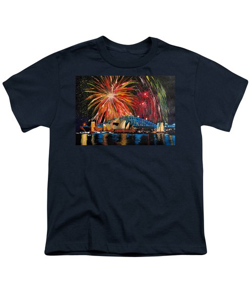 Sydney Silvester Fireworks At New Year Youth T-Shirt by M Bleichner