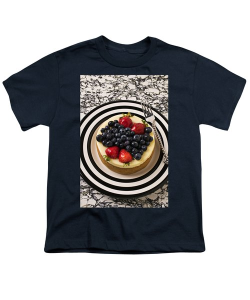 Cheese Cake On Black And White Plate Youth T-Shirt by Garry Gay