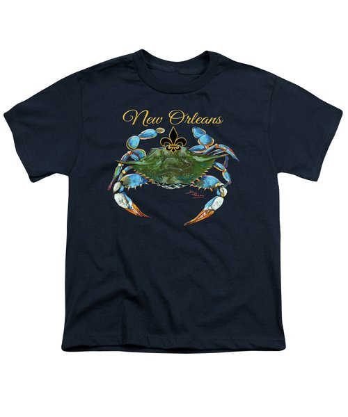 Louisiana Blue On Red Youth T-Shirt by Dianne Parks