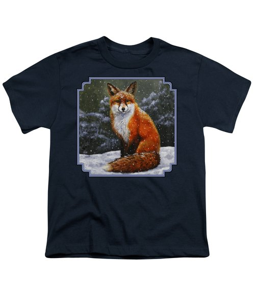 Snow Fox Youth T-Shirt by Crista Forest