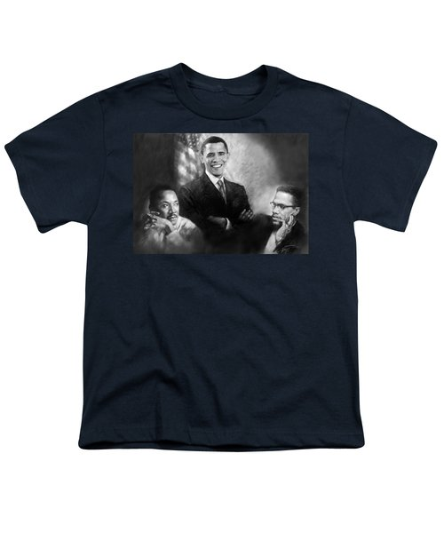 Barack Obama Martin Luther King Jr And Malcolm X Youth T-Shirt by Ylli Haruni